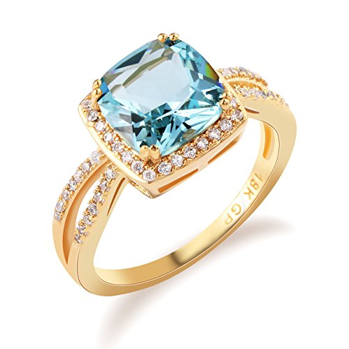 GULICX Jewelry Trendy Rings Light Blue Crystal Rhinestone Ring Gold Tone Finger Ring Size ()