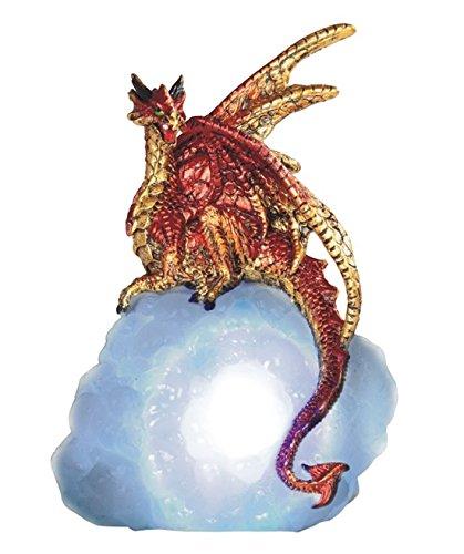Major-Q G8071841 - Figura Decorativa de dragón de Fuego Rojo con alas Doradas y luz LED, polirresina, 14 cm