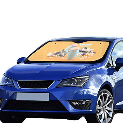 XDCGG Car Windshield Sunshade Small Percussion On Colorful Balls On Orange 55x30 Inch Anti-uv Coating Protect Seats Foldable Polyester and Aluminized Film Foldable Car Windshield Sunshade