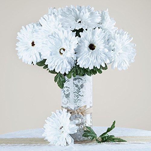 Efavormart 28 Artificial GERBERA Daisy Wedding Flowers Bushes - (White Gerbera Daisies)