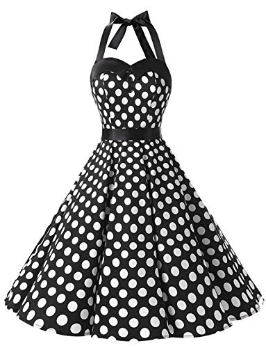 Dressystar Vintage Polka Dot Retro Cocktail Prom Dresses 50's 60's Rockabilly Bandage Black White Dot - White Prom Dresses Black
