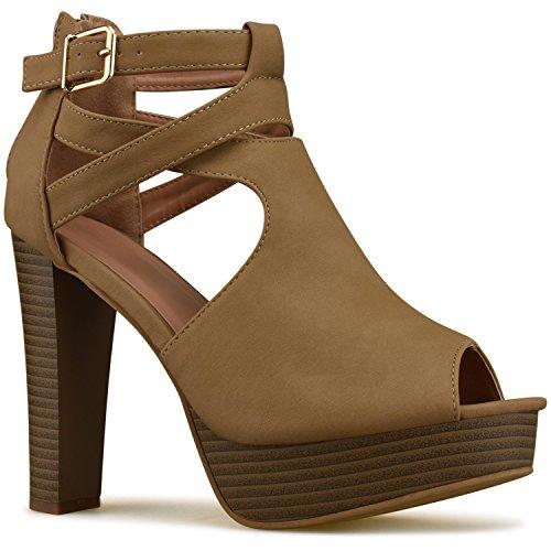 0fe0dba0421 Premier Standard Women s Platform Ankle Strap High Heel - Open Toe Sandal  Pump - Formal Party