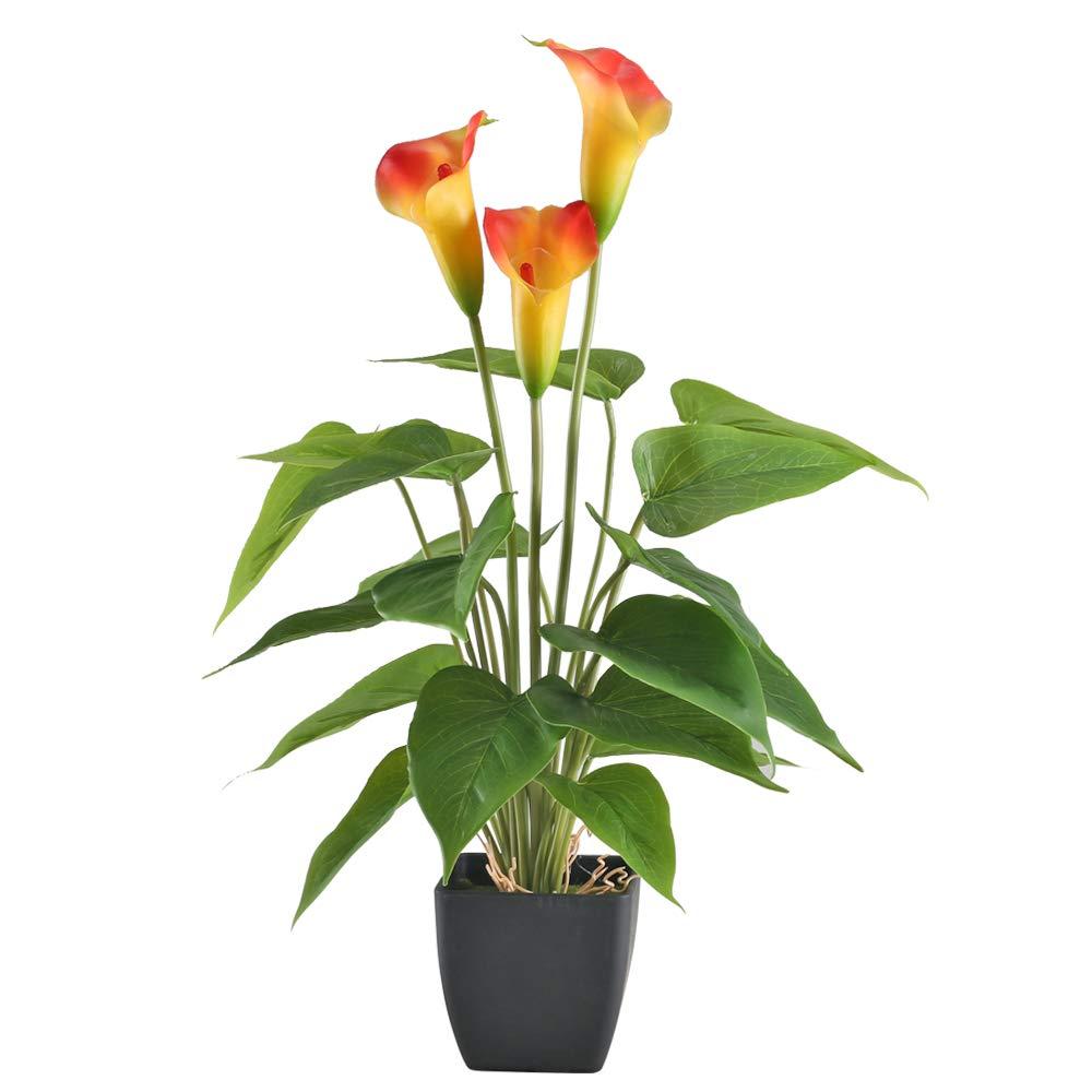 GTIDEA 17 inches Artificial Calla Lily Potted Plant Fake Bonsai Flower Arrangements with Black Plastic Pot Home Office Bedroom Table Centerpieces Decor Orange