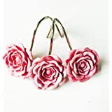 Good 12 PCS Home Fashion Decorative Rust Proof Shower Curtain Hooks Red Rose  Design Shower Curtain Rings Hooks