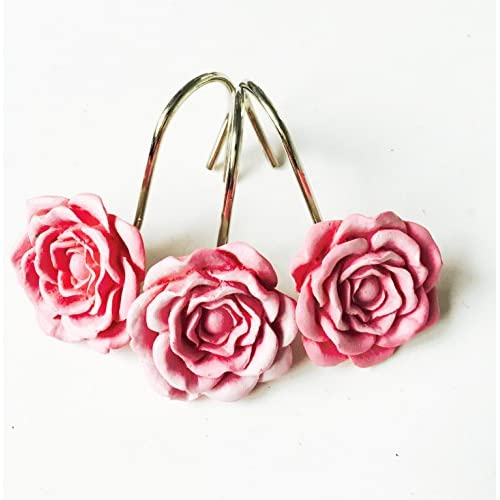 12 PCS Home Fashion Decorative Rust Proof Shower Curtain Hooks Red Rose Design Rings