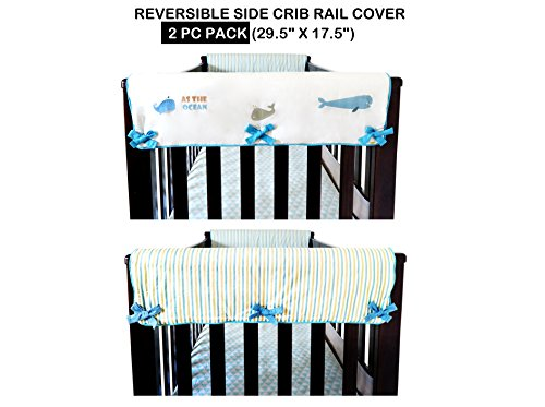 2 Piece 100% Cotton Side Crib Rail Guard Cover/Wrap 29.5'' x 17.5'' for Your Teething Baby,Padding,Cute, Reversible, Machine Washable, Fits Most Standard Narrow & Modern Wide Crib Rails by KAI&HIRO (Image #9)
