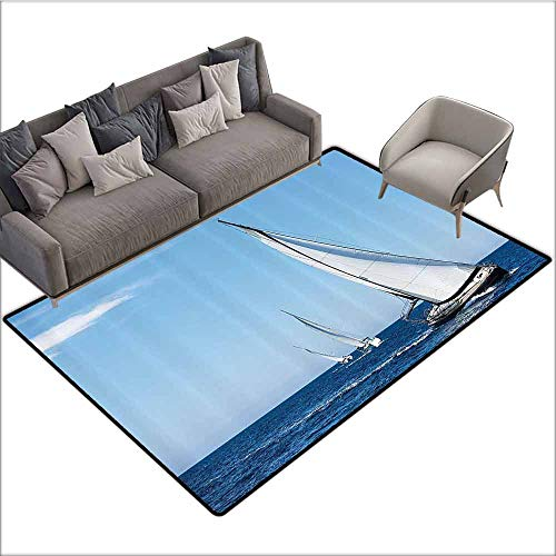Bathroom Floor mats Sailboat Nautical Decor Collection,Luxury Yachts Sailing in The Wind Through The Waves at The Aegean Sea Picture,Blue White 60