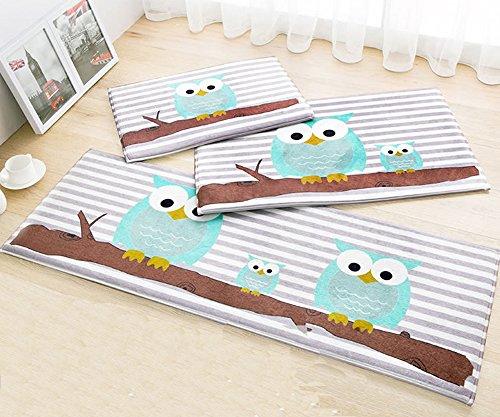 TideTex 3-piece Cartoon Owl Pattern Rugs Bedroom Living Room Rug Runner Bathroom Kitchen Carpets Bedside Carpets Baby Room Rugs Non-Slip Carpets (1'3x2'0+1'6x2'6+1'5x3'9, C) (Door 6-0 Patio)