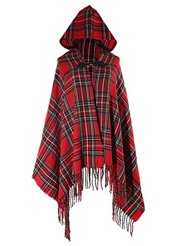 Futurino Women's Winter Boho Chrismas Checked Tartan Hooded Poncho Cape Coverup]()