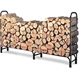 WALCUT 8ft Heavy Duty Steel Firewood Log Rack, Outdoor Fireplace Wood Stacker Storage Holder, Black