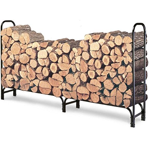 WALCUT 8ft Heavy Duty Steel Firewood Log Rack, Outdoor Fireplace Wood Stacker Storage Holder, Black by WALCUT