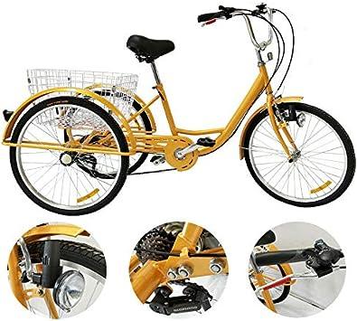 YUNRUX Triciclo para Adultos, 24 Pulgadas, 6 velocidades, 3 Ruedas ...