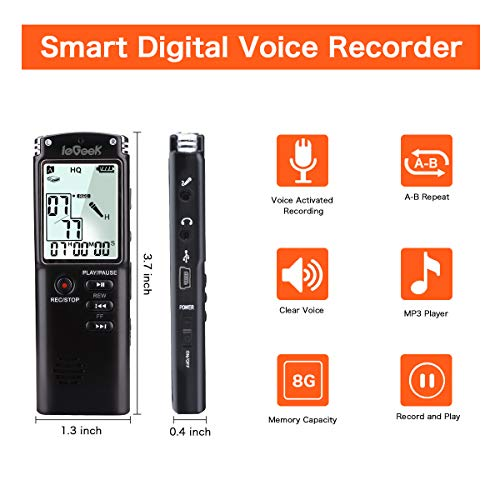 Letouch Digital Voice Recorder, Multifunctional Portable Rechargeable HD 8GB 1536Kbps USB Sound Audio Recorder Dictaphone for Lectures Meetings