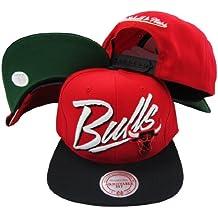 Chicago Bulls Diagonal Script Red/Black Two Tone Plastic Snapback Adjustable Plastic Snap Back Hat / Cap