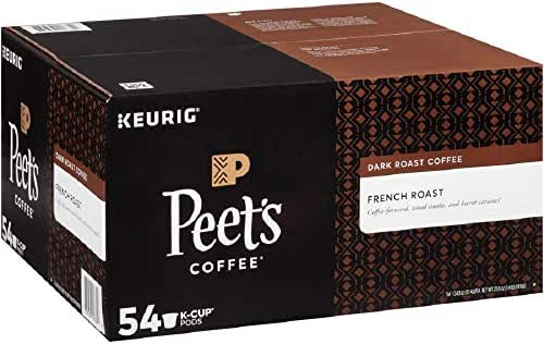 Peet's Coffee French Roast, Dark Roast, 54 Count Single Serve K-Cup Coffee Pods for Keurig Coffee Maker