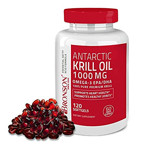 Bronson Antarctic Krill Oil 1000 mg with Astaxanthin, 120 Softgels (60 Servings) - Omega 3 Krill Oil
