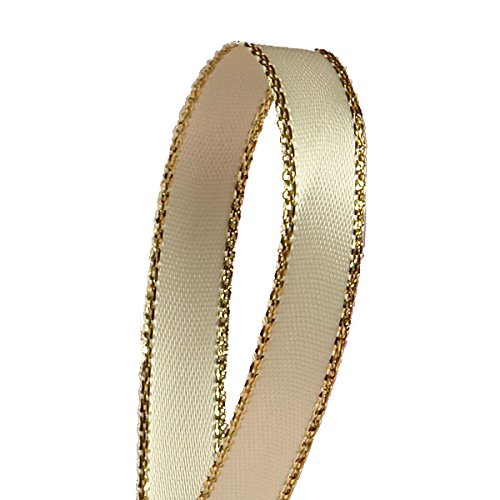 Ivory Satin Ribbon with Gold Edges, 3/8