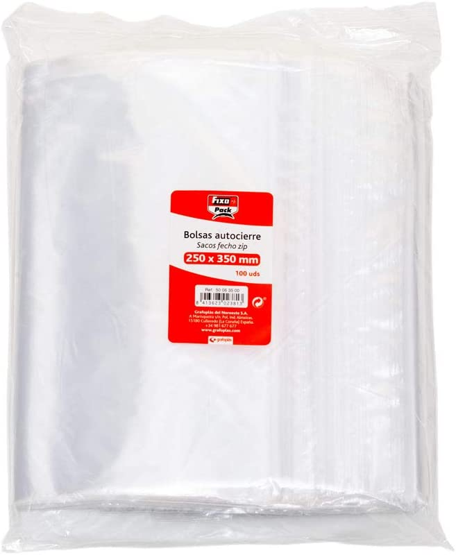 Fixo Pack 50063900-Pack de 100 bolsas autocierre, 230 x 320 mm