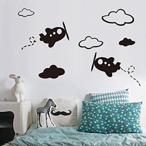 Panthers Glass Pitcher (Removable Airplane white clouds Wall Stickers Home Decorative Decal DIY For Gift Kids Nursery Baby Room Bedroom (31x42cm, Black))