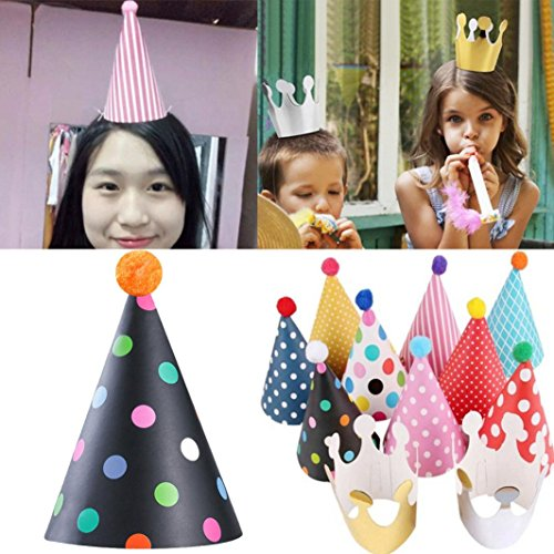 Yeefant 11Pcs Celebration Hats Cap Crown Prince Princess Birthday Party Gold Decorative Event Banquet Favors Signs Pure Bunting Hanging Set for Living Room Bedroom,10x6 Inch