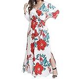 Kinrui Women's Sexy V Neck Wrap Floral Print Slit Long Swing Party Dress with Belt (White, XL)