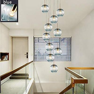 10 bolas de cristal para escalera, lámpara larga de techo, edificio Duplex, gran lámpara de salón Villa hueca moderna, escalera, minimalista, lámpara 50 x 250 cm, metal cristal, azul, 50x250cm, G4: Amazon.es: Iluminación