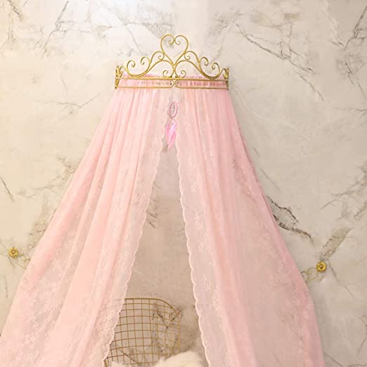White Pink Crown Canopy Chic Furniture Girls Princess Voile Curtain Bed Cot