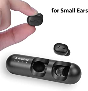 Avantree TWS110 Mini True Wireless Earbuds for Small Ears Canals, Sport Bluetooth 5.0 Earphones with Volume Control & Mic, Clear Sound, Charging Case, 28H Playtime