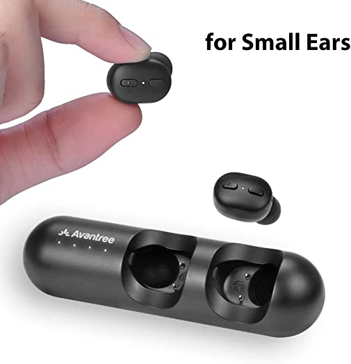 New Version Avantree TWS110 Mini True Wireless Earbuds for Small Ears Canals, Sport Bluetooth 5.0 Earphones with Volume Control Mic, Clear Sound, Charging Case, 28H Playtime