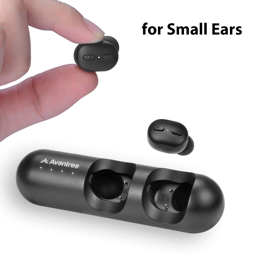 [New Version] Avantree TWS110 Mini True Wireless Earbuds for Small Ears Canals, Sport Bluetooth 5.0 Earphones with Volume Control & Mic, Clear Sound, Charging Case, 28H Playtime