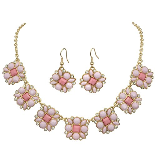 Jewel Tone Necklace Set (Trendy 7 Squares & Dots Multi Color Rhinestones Necklace & Earrings Set (Light Pink Tones))