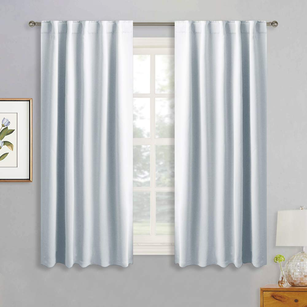 RYB HOME White Curtains for Bedroom - Room Darkening Curtains Back Loops & Rod Pocket Top Hanging, Privacy Window Drapes for Sunroom Kitchen Dining Engagement, 42 Wide x 54 Long, Grayish White, 2 Pcs