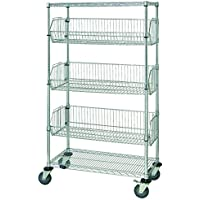 Quantum Storage Systems 5-Tier Mobile Wire Basket Unit with 3 Baskets, Chrome Finish