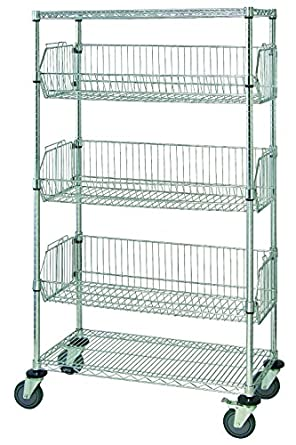 Quantum Storage Systems M1836BC6C 5 Tier Mobile Wire Basket Unit With 3  Baskets, Chrome
