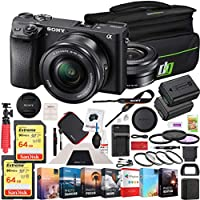Sony a6300 4K Mirrorless Camera ILCE-6300L/B (Black) with 16-50mm Lens 128GB Memory Deco Gear Case Filter Kit Charger & Extra Battery Power Editing Bundle