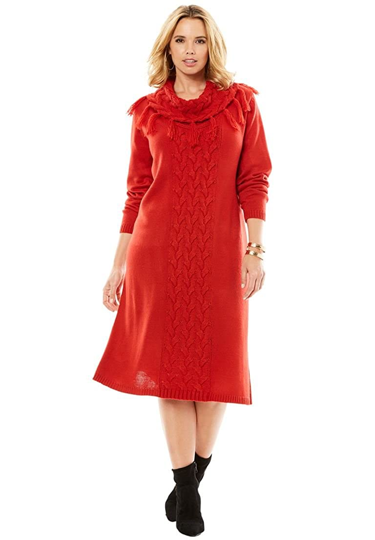 Women's Plus Size Cable Knit Sweater Dress