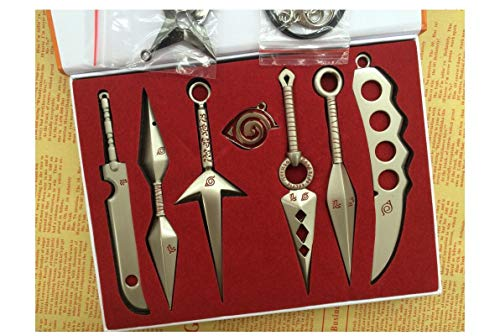 AaronLi Anime Naruto Cosplay Weapons Necklace,Metal Kunai Gift Box,No Sharp Edges - Itachi,Kakashi,Shikamaru,Gaara Toy Keychain 7 pcs/Set (B-Gold)