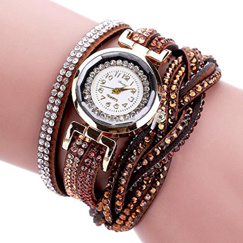 Hunputa Women Luxury Crystal Women Gold Bracelet Quartz Wristwatch Rhinestone Clock Ladies Dress Gift Watches ()