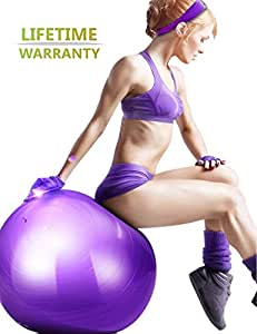 Aliglow Exercise Ball with Pump , Anti-Burst and Anti-Slip Professional Quality Design ( Swiss Yoga Therapy Pilates Balance Birth Balls )