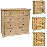 Home Discount Panama Chest of Drawers Solid Pine 4 Drawer Bedroom Furniture Waxed
