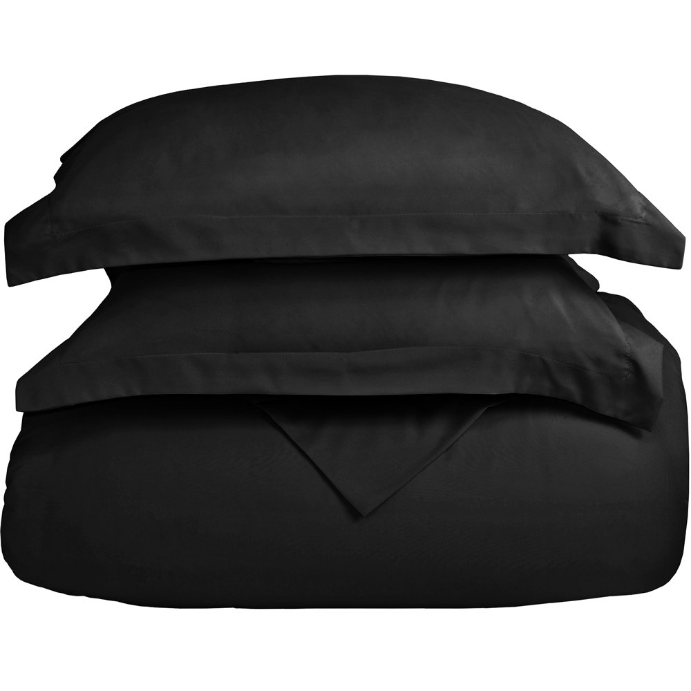 Bare Home Luxury 3 Piece Duvet Cover and Sham Set - Full/Queen - Premium 1800 Ultra-Soft Brushed Microfiber - Hypoallergenic, Easy Care, Wrinkle Resistant (Full/Queen, Black) by Bare Home (Image #2)