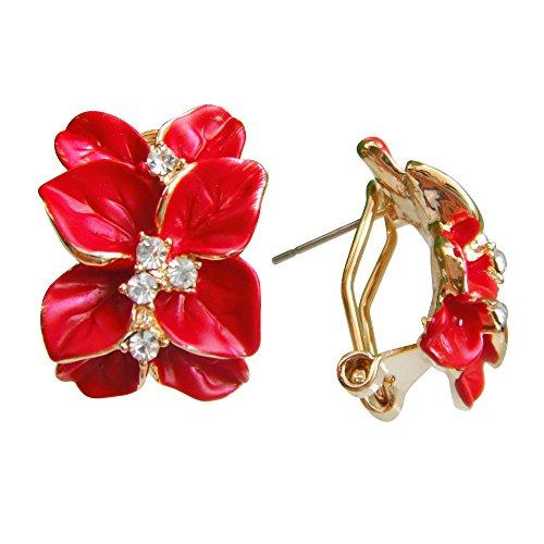 (Navachi 18k Gold Plated Crystal Deep Red Enamel Leaves Flower Omega Earrings)