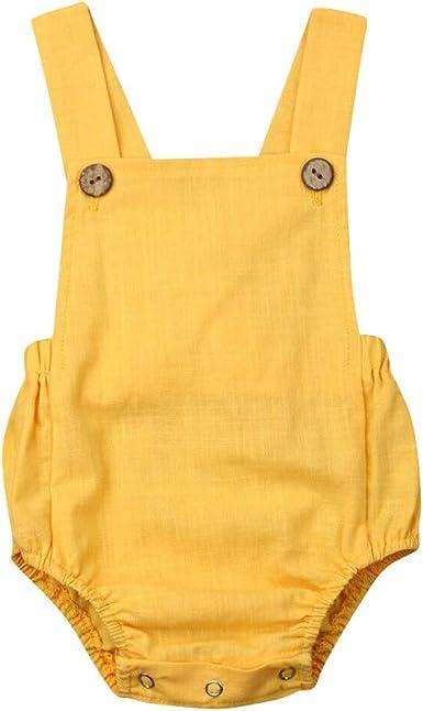 YEBIRAL Ropa Bebé Niña Verano Mezcla De Algodon Sin Mangas Color SóLido Escotado por detrás Bodies Peleles Mono Bodies Peleles Body Infantil para bebés: Amazon.es: Ropa y accesorios