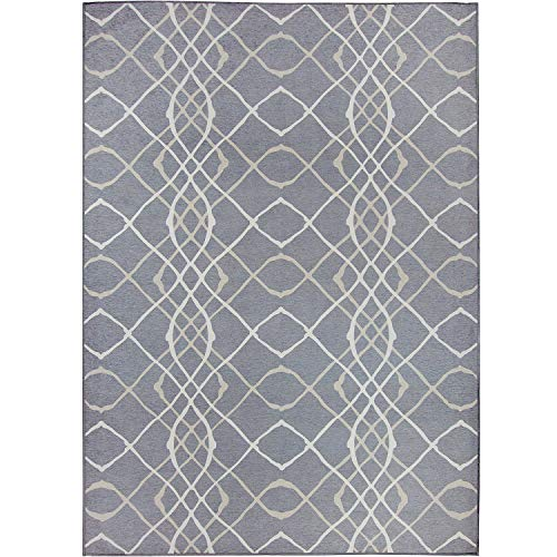 RUGGABLE Washable Stain Resistant Indoor/Outdoor, Kids, Pets, and Dog Friendly Area Rug 5'x7' Amara Grey by RUGGABLE (Image #7)