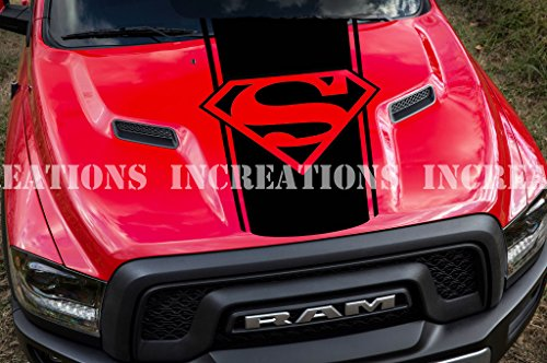 Super Man Hemi Dodge Ram Hood Decal Sticker Racing Any Truck Stripe Toyota GMS Funny Cool Decal (Black)