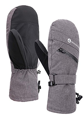 Andorra Women Cross Country Textured Touchscreen Snowboarding Mitten, Grey, S/M (Best Women's Cross Country Skis)