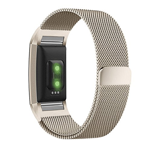 UMTELE for Fitbit Charge 2 Band, Milanese Loop Stainless Steel Metal Bracelet Strap with Unique Magnet Lock, No Buckle Needed for Fitbit Charge 2 HR Fitness Tracker Large