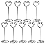 LINPOZONE Heart Shape Table Card Holders (24 Pack), 3.5'' Table Number Stands for Weddings, Restaurants, Birthday Party and Event