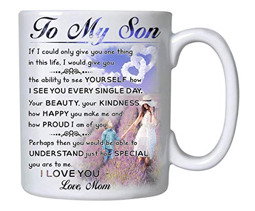 Coffee Mug, To My Son - Love Mom, Gift for Son, Mom 11 oz Novelty Ceramic Cup - Mother Son Gift - Birthday Gift for Son- Xmas, Birthday, Wedding, Graduation, Valentine's Day Gift ideas for Son