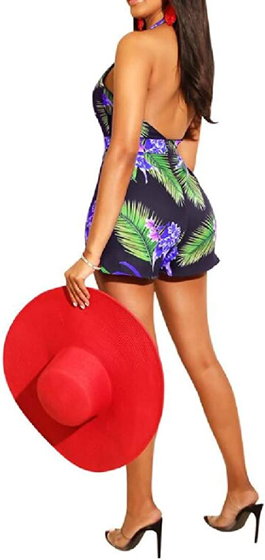 Winwinus Women V-Neck Bandage Backless Club Floral Printed Playsuit